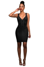 Womens Lace-up V Neck Zipper Back Sleeveless Bodycon Dress Black