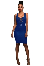 Womens Keyhole Cross Lace-up Sleeveless Bodycon Dress Blue