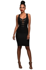 Womens Keyhole Cross Lace-up Sleeveless Bodycon Dress Black