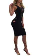 Womens Lace-up Cutout Sleeveless Bodycon Clubwear Dress Black