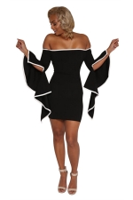 Womens Off Shoulder Asymmetric Sleeve Bodycon Clubwear Dress Black