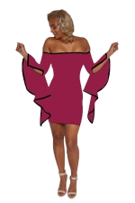 Womens Off Shoulder Asymmetric Sleeve Bodycon Clubwear Dress Purple
