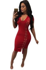 Womens V Neck Side Keyhole Lace-up Short Sleeve Bodycon Dress Red