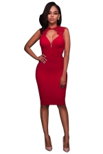 Womens Lace Patchwork Cut Out Back Sleeveless Bodycon Dress Red