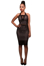 Womens Lace-up V Neck Sleeveless Plain Bodycon Dress Black