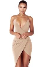 Womens V Neck Draped Irregular Hem Sleeveless Clubwear Dress Apricot