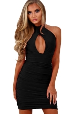Womens Halter Cut Out Draped Plain Sleeveless Clubwear Dress Black