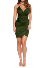 Womens V Neck Draped Spaghetti Straps Clubwear Dress Army Green