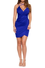 Womens V Neck Draped Spaghetti Straps Clubwear Dress Blue