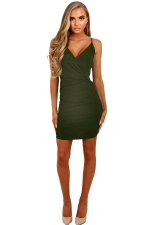 Womens Spaghetti Straps V Neck Plain Bodycon Dress Army Green