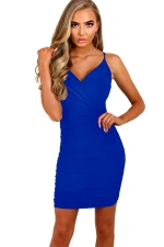 Womens Spaghetti Straps V Neck Plain Bodycon Dress Blue