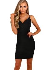 Womens Spaghetti Straps V Neck Plain Bodycon Dress Black