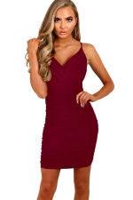 Womens Spaghetti Straps V Neck Plain Bodycon Dress Ruby