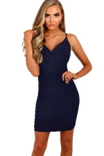 Womens Spaghetti Straps V Neck Plain Bodycon Dress Navy Blue