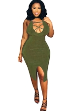 Womens Strappy U Neck Front Slit Backless Bodycon Dress Army Green