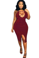 Womens Strappy U Neck Front Slit Backless Bodycon Dress Ruby