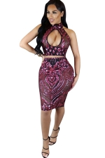 Womens 2PCS Cutout Sequined Mesh Patchwork Sheer Skirt Suit Ruby