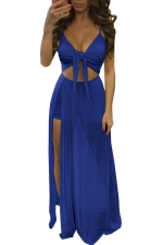Womens Lace-up Cutout Mesh Side Slit Maxi Romper Dress Sapphire Blue