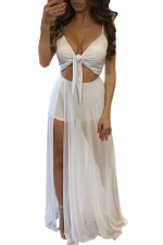 Womens Lace-up Cutout Mesh Patchwork Side Slit Maxi Romper Dress White