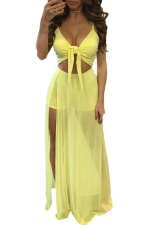 Womens Lace-up Cutout Mesh Splicing Side Slit Maxi Romper Dress Yellow