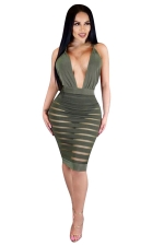 Womens Plunging Neck Striped Mesh Splicing Clubwear Dress Green