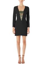 Womens Bandage Deep V Neck Long Sleeve Mini Dress Black