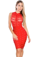 Womens Sexy Beaded Sheer Fitness Sleeveless Bodycon Dress Red