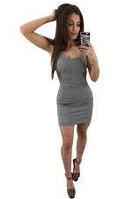 Womens Sexy Backless Slimming Clubwear Dress Gray