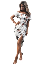 Womens Sexy Ruffle Boat Neckline Floral Slits Clubwear Dress White
