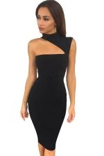 Womens Sexy High Collar Sleeveles Slimming Bodycon Dress Black