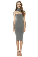 Womens Sexy High Collar Sleeveles Slimming Bodycon Dress Gray