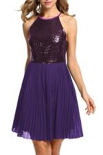 Ladies Halter Open Back Sequins Chiffon Pleated Evening Dress Purple