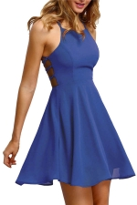 Womens Sexy Halter Open Back Cross String Clubwear Dress Blue