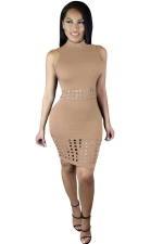 Womens Sexy Hollow Out Sleeveless Slimming Clubwear Dress Apricot