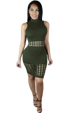 Womens Sexy Hollow Out Sleeveless Slimming Clubwear Dress Green