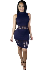 Womens Sexy Hollow Out Sleeveless Slimming Clubwear Dress Navy Blue