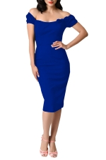 Womens Off Shoulder Bow Decor Short Sleeve Plain Midi Dress Blue