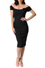 Womens Off Shoulder Bow Decor Short Sleeve Plain Midi Dress Black