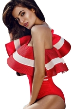 Womens One Shoulder Striped Ruffled Sleeve One Piece Bodysuit Red