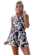 Womens Floral Printed Sleeveless Tunic One Piece Romper Beige White