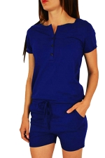Womens Buttons V-neck Short Sleeve Drawstring Waist Romper Blue
