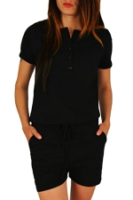 Womens Buttons V-neck Short Sleeve Drawstring Waist Romper Black