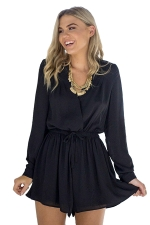 Womens V Neck Long Sleeve Drawstring Waist Plain Romper Black
