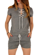 Womens Lace-up V-neck Short Sleeve Drawstring Waist Romper Gray