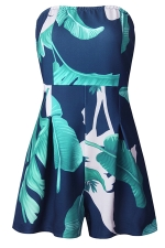 Womens Sexy Strapless Floral Printed High Waist Romper Navy Blue