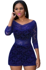 Womens Sexy Lace Overlay See Through V-neck Romper Sapphire Blue
