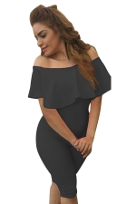 Womens Ruffle Boat Neckline Plain High Waist Fitting Jumpsuit Black