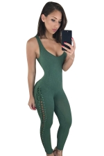 Womens Sexy lace-up Side Closing-fitting Kntiing Jumpsuit Green