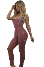 Womens Sexy lace-up Side Closing-fitting Kntiing Jumpsuit Pink