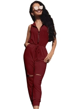 Womens Zipper Hoodied Draw String Ripped Knee Jumpsuit Ruby